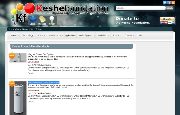 Keshe Foundation Products - Magrav Power Systems - website screenshot oct 23 2015