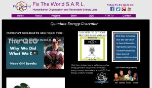 Fix the World official website quantum energy generator screenshot connectivist collective may 30 2016