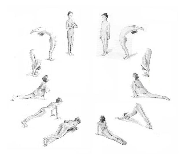 lucy lidell sivananda hatha yoga companion book page 35 joga powitanie slonca progresja sun salutation progression